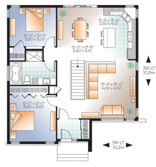Plano de casa de dos dormitorios