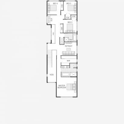 Plano de casa pequeña dos pisos