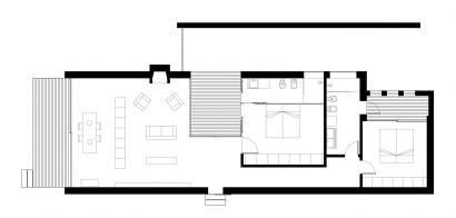 Plano de pequeña casa de dos dormitorios