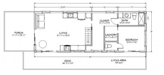 Plano pequeña de campo un dormitorio dos baños