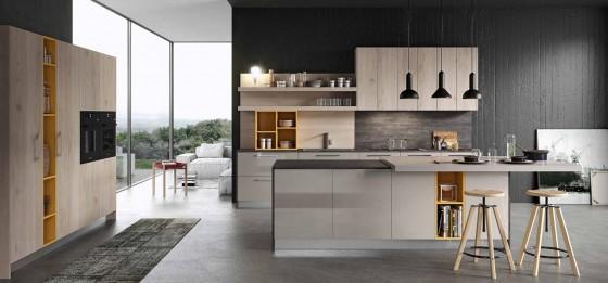 Cocina moderna con texturas hormigón gris