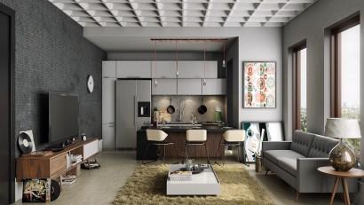 Diseño cocina color gris Imagine3D