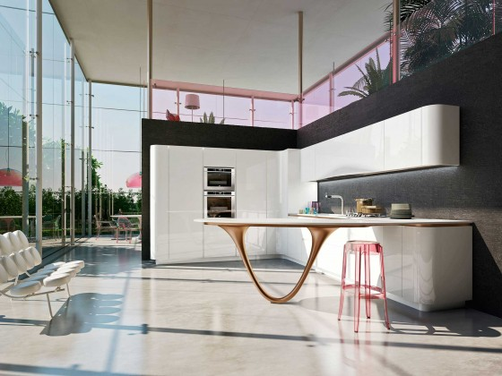 Diseño cocina moderna con mesa estilizada
