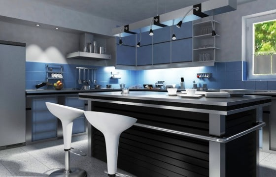 Idea cocina moderna con trabajos de luz