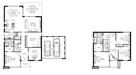 Planos de dos pisos pequeña y moderna
