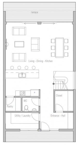 Plano de casa de dos pisos 100 metros cuadrados