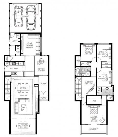 Casa de dos pisos angosta de cuatro dormitorios