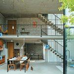 Diseño de sala comedor de ladrillos de hormigón