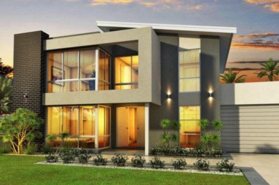 Fachada de casa ultra moderna de dos niveles