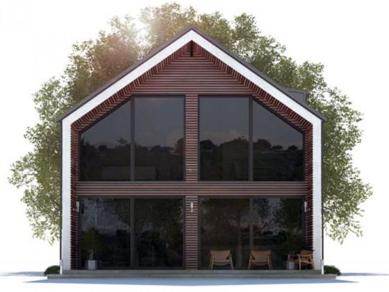 Fachada de casa moderna de dos pisos techo a dos aguas