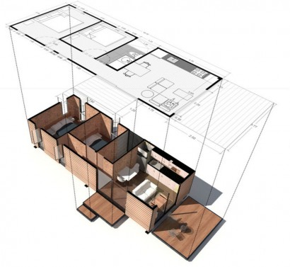 Plano casa económica de dos dormitorios Colectivo Creativo Arquitectos