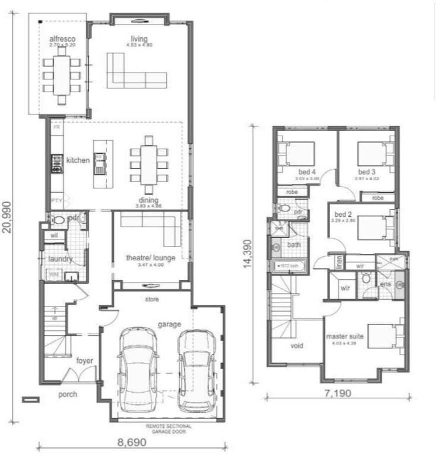 Planos de casas de dos pisos modernas construye hogar for Casas modernas 4 cuartos