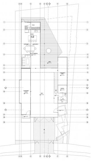 Plano de casa dos pisos con contenedores reciclados