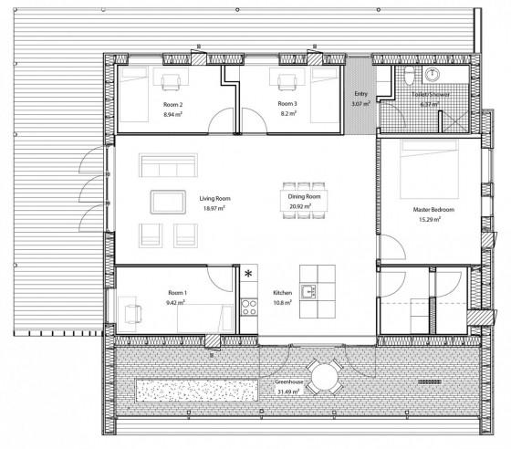Plano de casa cuadrada de cuatro dormitorios