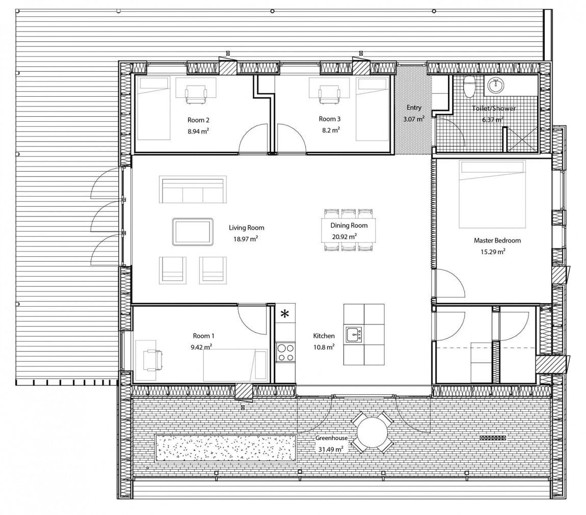 Plano de casa econ mica de tres dormitorios construye hogar for Planos de casas economicas