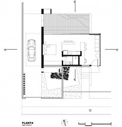 Plano de casa económica de un piso