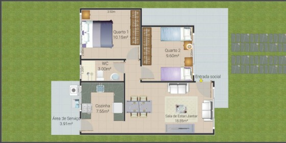 Plano de casa pequeña de 64 metros cuadrados