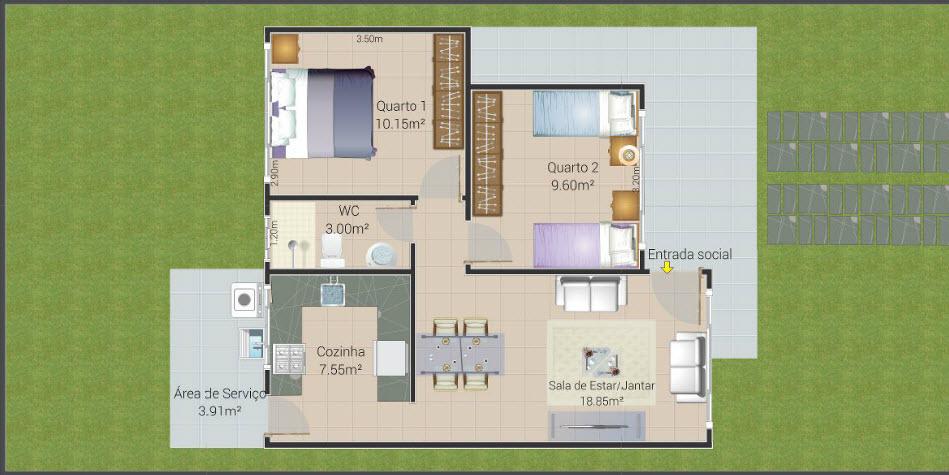 Plano de casa peque a de 64 metros cuadrados construye hogar for Planos y fachadas de casas pequenas