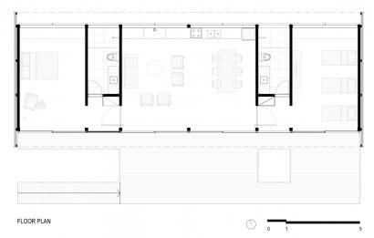 Plano de casa rectangular de dos dormitorios