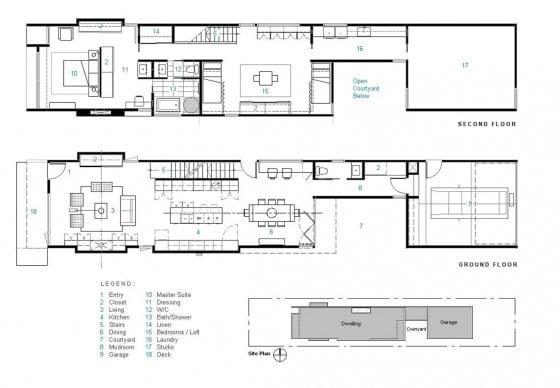 Planos casa dos pisos larga angosta