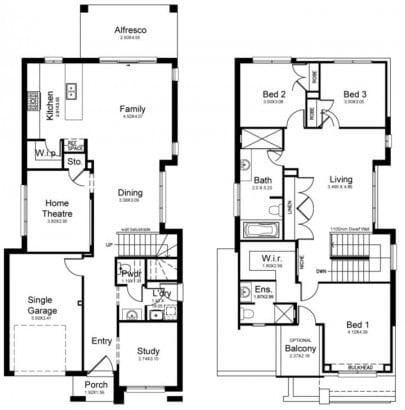 Planos de casa de dos pisos de tres dormitorios kurmondhomes.com.au