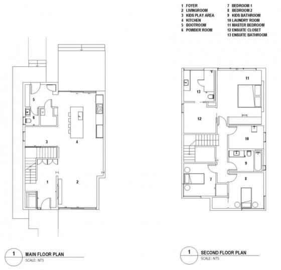 Planos de casa pequeña de dos pisos y tres dormitorios