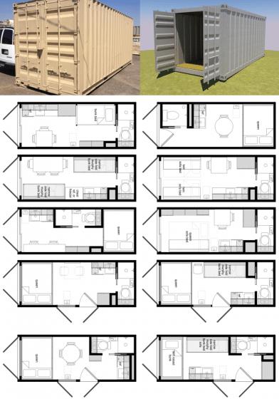 Modelos de planos de casas con contenedores reciclados