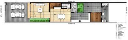 Plano de casa angosta y larga de dos pisos