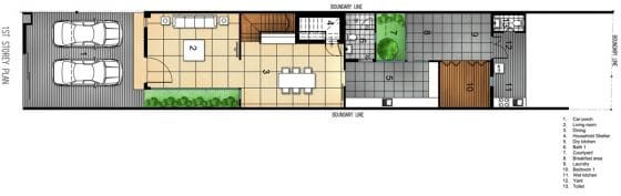 Plano de casa angosta y larga de dos pisos - Primer piso