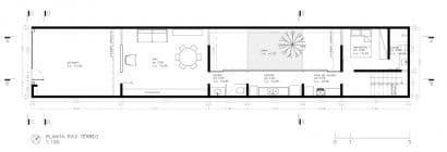 Plano de casa angosta y larga de un piso y medio