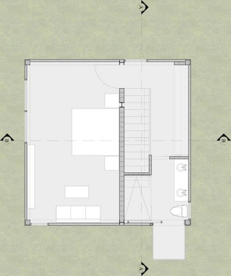 Plano casa pequeña de dos pisos un dormitorio
