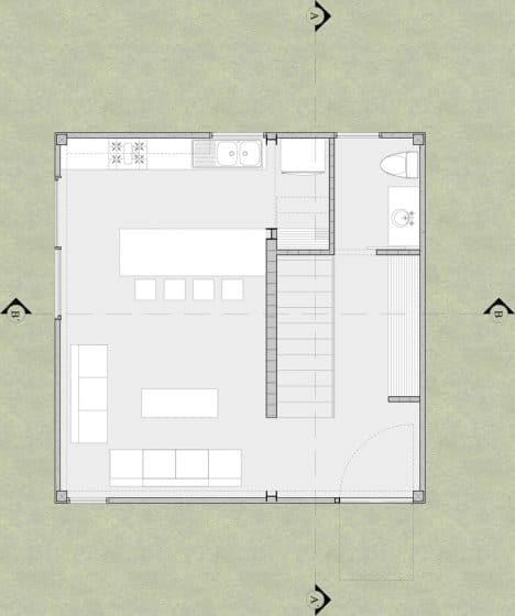Plano pequeña casa forma cuadrada