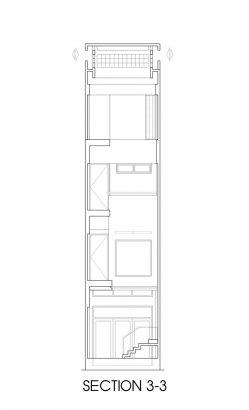 Plano de corte 3 de casa angosta y larg