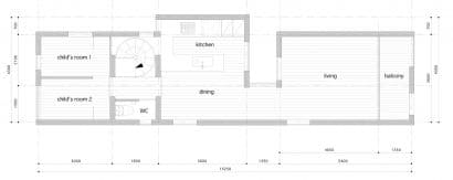 Plano de segundo piso de casa angosta