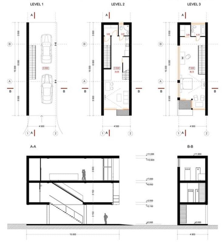 planos de la casa angosta de tres pisos