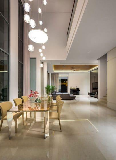 Diseño de sala comedor estilo moderno y lujoso