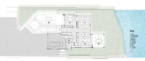 Plano de casa de dos pisos moderna