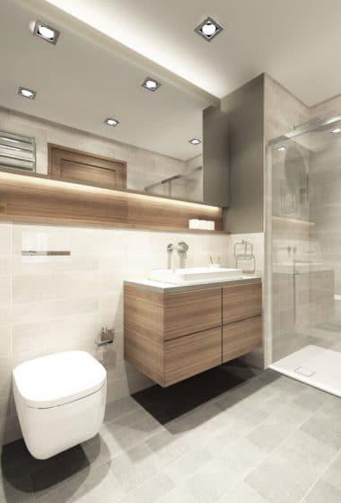 Cuarto de baño pequeño con cerámicos grises y madera