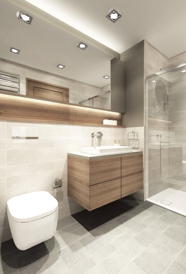 cuarto de bao pequeo con cermicos grises y madera