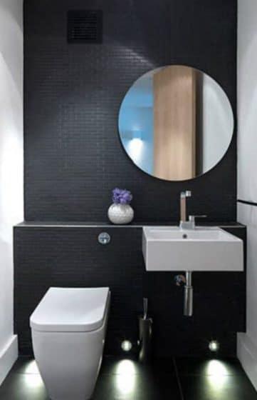 Cuarto de baño pequeño de color gris