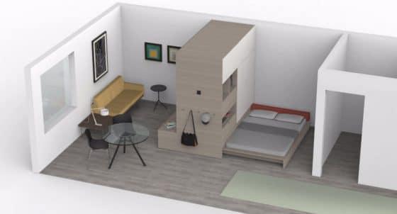 Diseño de departamento pequeño plegable