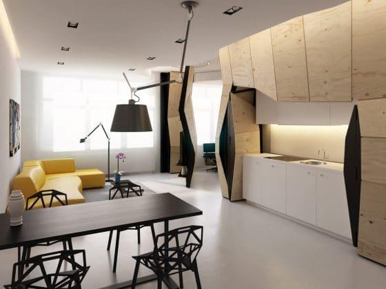 Diseño de moderna sala comedor cocina apartamento