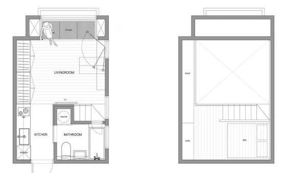 Plano de departamento pequeño 22 metros cuadrados