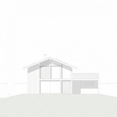 Plano de fachada sur casa campo
