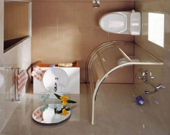 Vista de planta de cuarto de baño pequeño 006