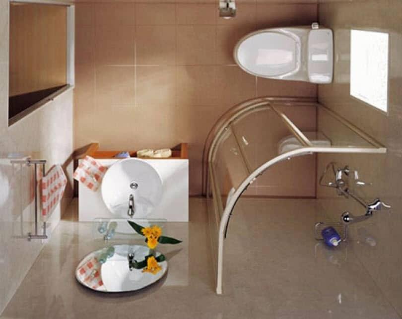 Baño Vista En Planta:Vista de planta de cuarto de baño pequeño 002