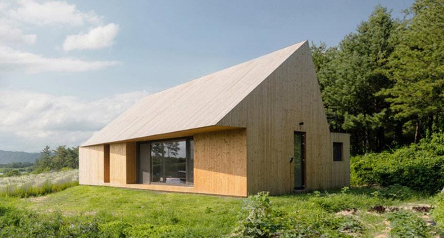 Dise o moderna casa de campo madera construye hogar - Casas de madera para el campo ...