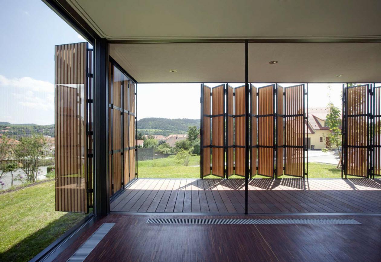 Moderna casa de un piso tres dormitorios construye hogar - Persianas madera exterior ...