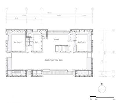 Plano 3D pequeña casa de campo