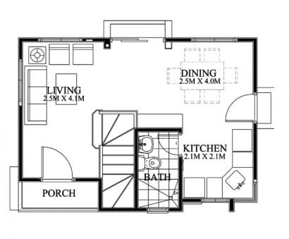 Plano casa pequeña dos pisos